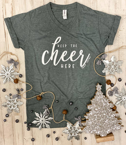 Keep The Cheer Here (Tultex Heather Charcoal) DROPSHIP