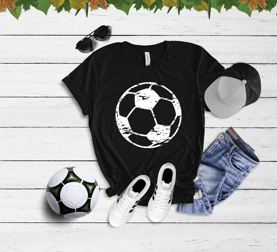 Distressed Soccer Tee (Black) DROPSHIP