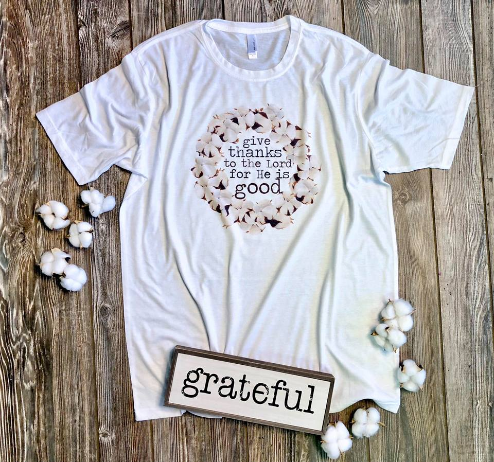Give Thanks White Tee