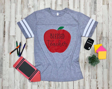 Blessed Teacher Vintage Heather Jersey Tee