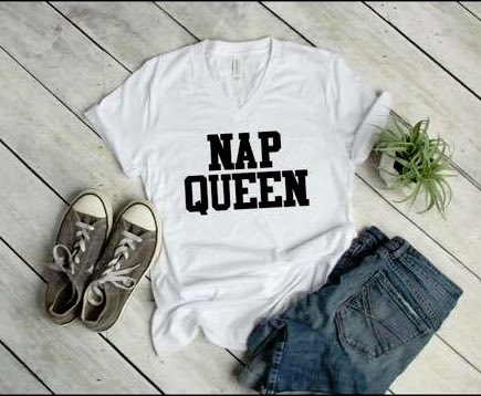 Nap Queen White V Neck