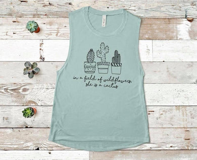 Cactus Wildflower Muscle Tank (Dusty Blue)