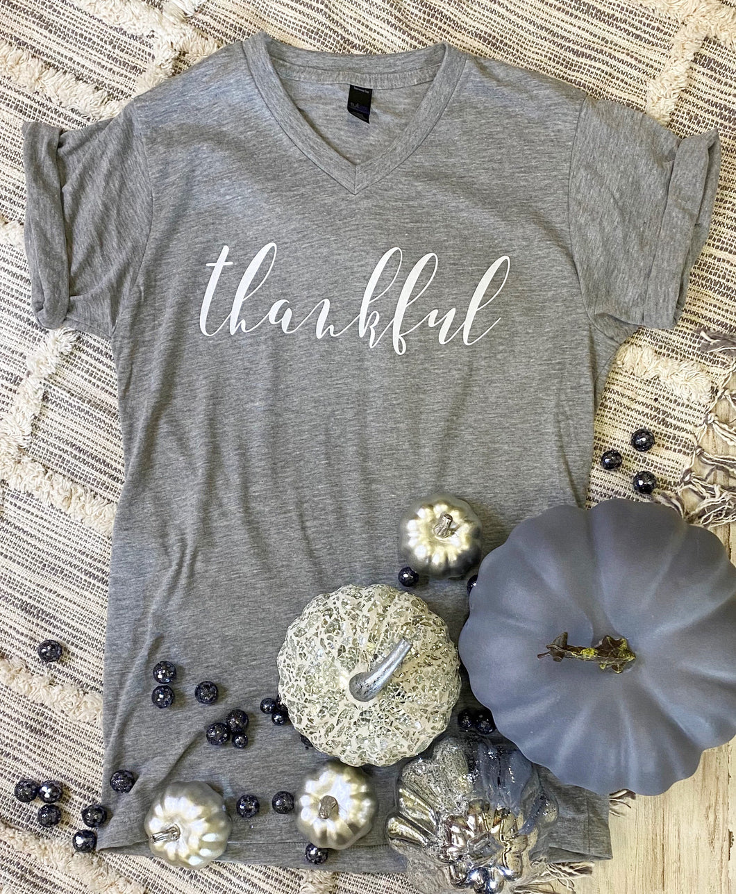 NEW Thankful (Heather Grey V Neck)