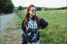 Load image into Gallery viewer, USA (White Ink) Black and White Tie Dye Hoodie