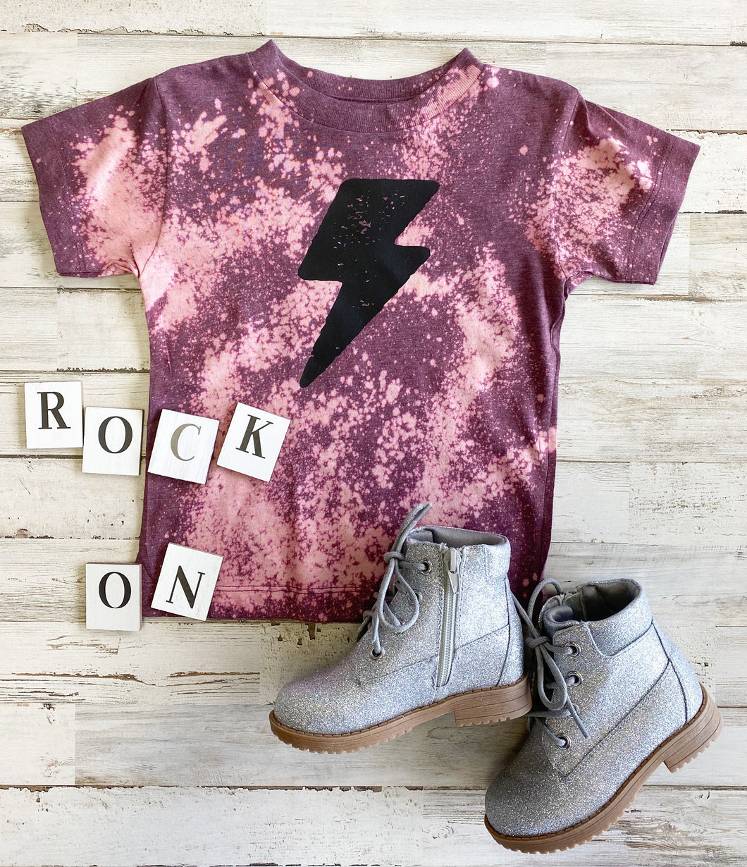 Lightning Bolt Toddler Tee (Heather Maroon Distressed)