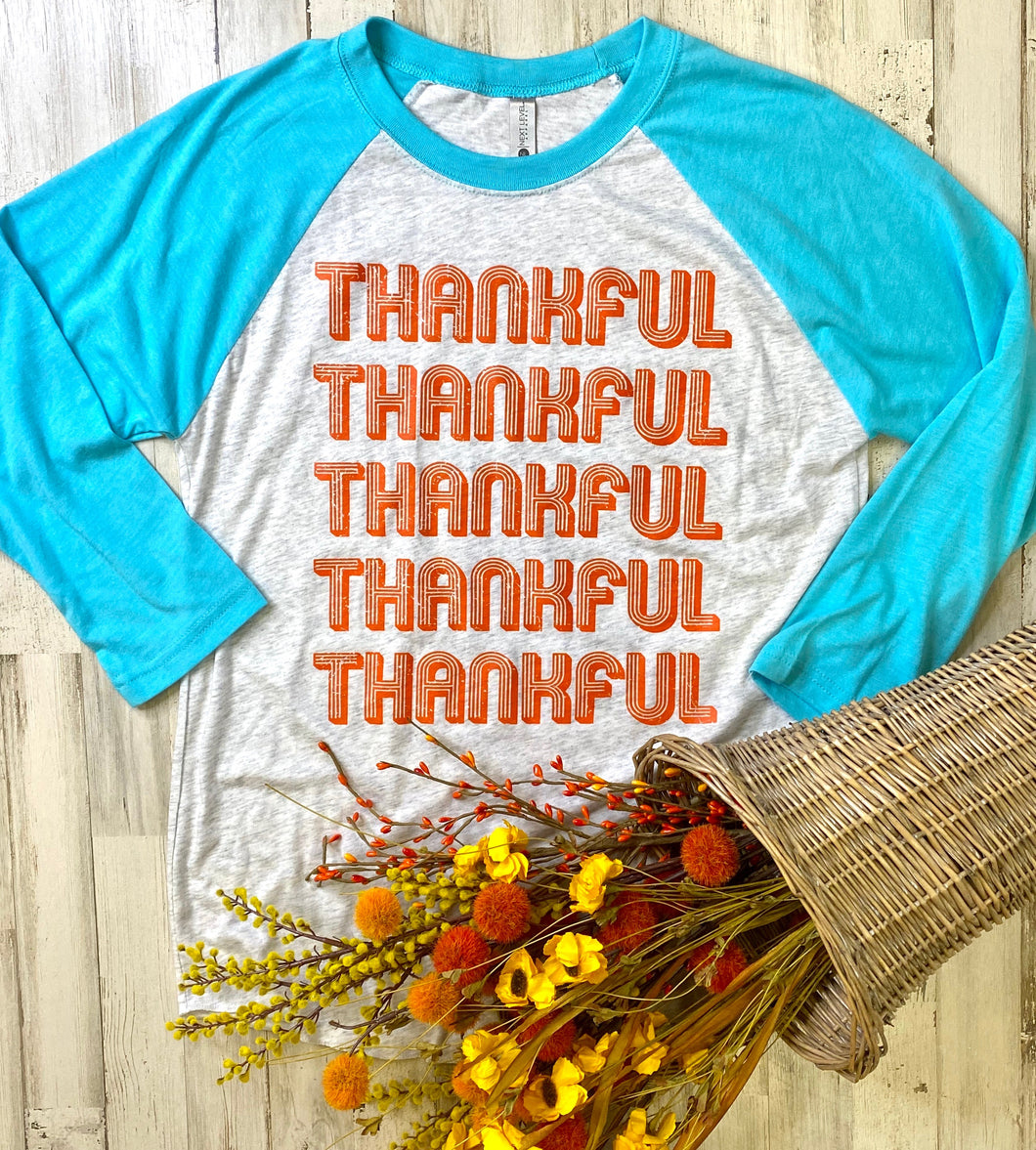 Retro Thankful (Orange Ink) (Tahiti Blue Raglan)