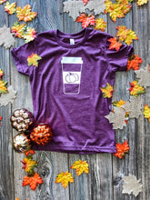 Load image into Gallery viewer, Latte Lover Kids Tee (Heather Maroon) DROPSHIP