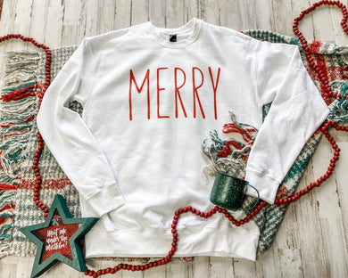 Merry (red ink) White Sweatshirt DROPSHIP