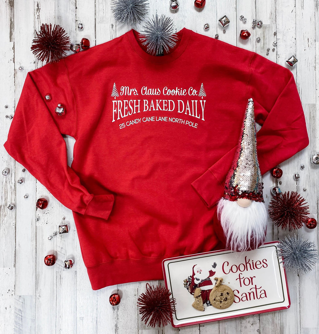 Mrs. Claus Cookie Co. Sweatshirt (Red)