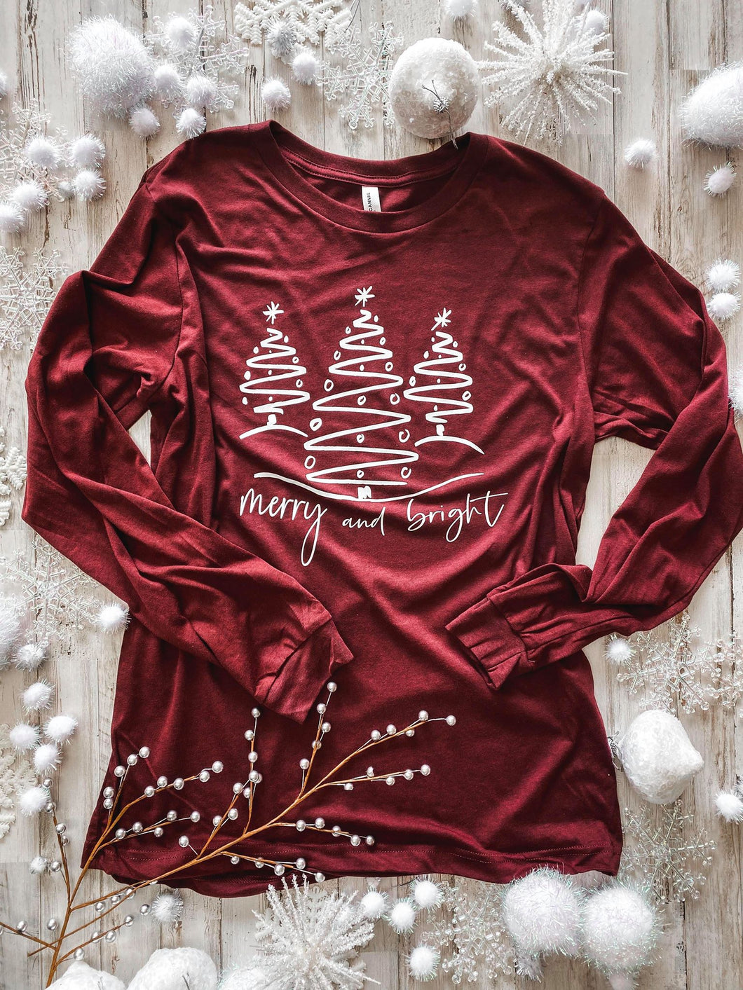 Merry and Bright Trees (Heather Cardinal) Tee DROPSHIP