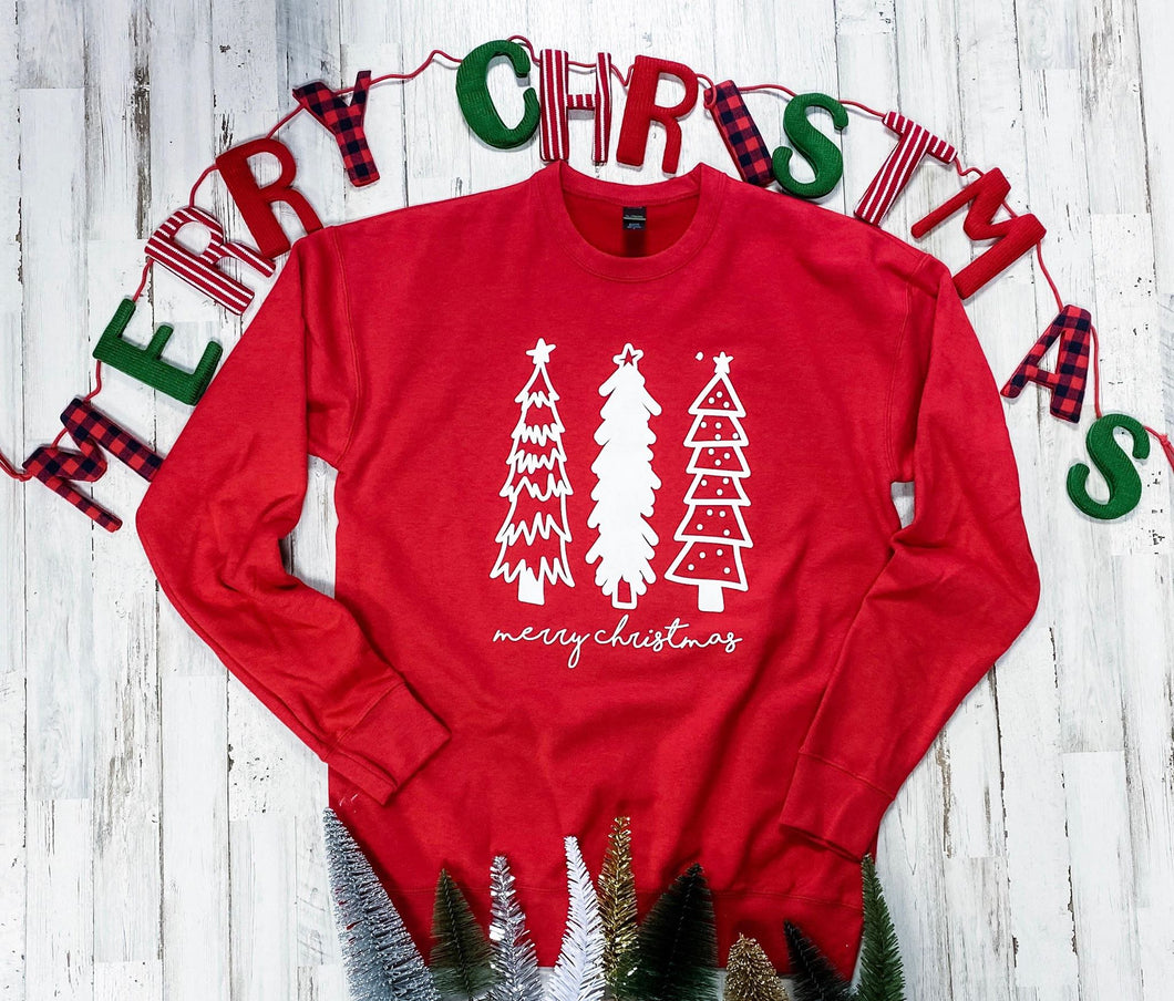 Tree Trio Sweatshirt (Red) DROPSHIP