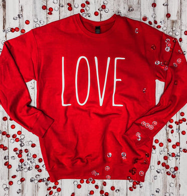LOVE (white ink) Red Sweatshirt DROPSHIP