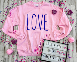LOVE (purple ink) Pink Sweatshirt