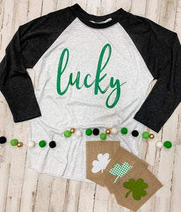 Lucky (Green Ink) Black and White Raglan DROPSHIP