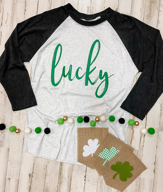 Lucky (Green Ink) Black and White Raglan