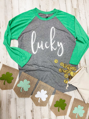 Lucky (White Ink) Green and Grey Raglan