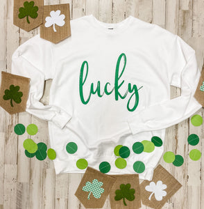 Lucky (Green Ink) White Sweatshirt DROPSHIP