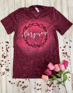 Forgiven Crown of Thorns Distressed Tee (Maroon) DROPSHIP