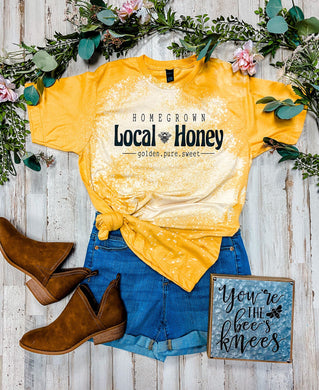 Local Honey Tee DISTRESSED (Heather Mellow Yellow)
