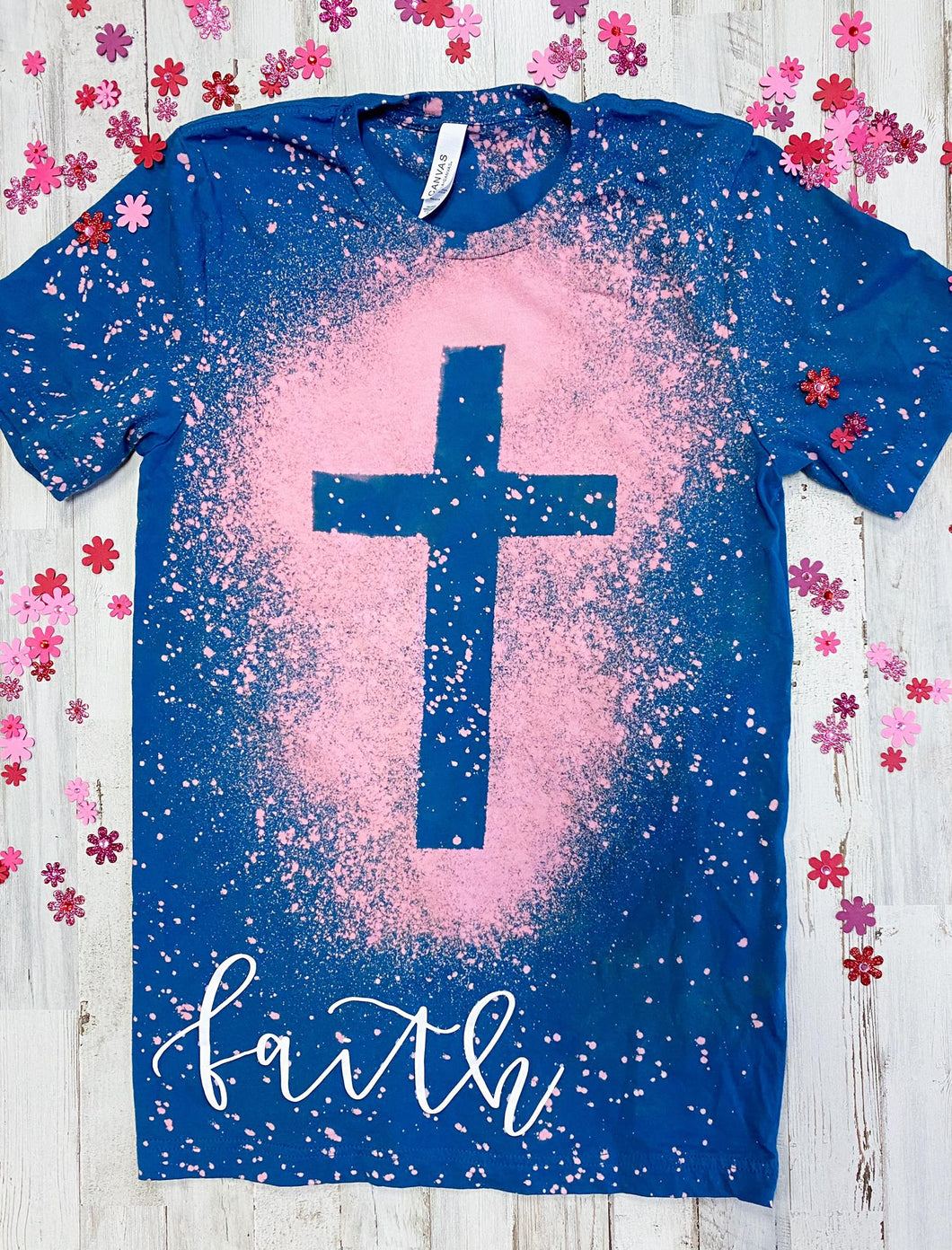 Faith Distressed Cross Tee (Deep Teal)