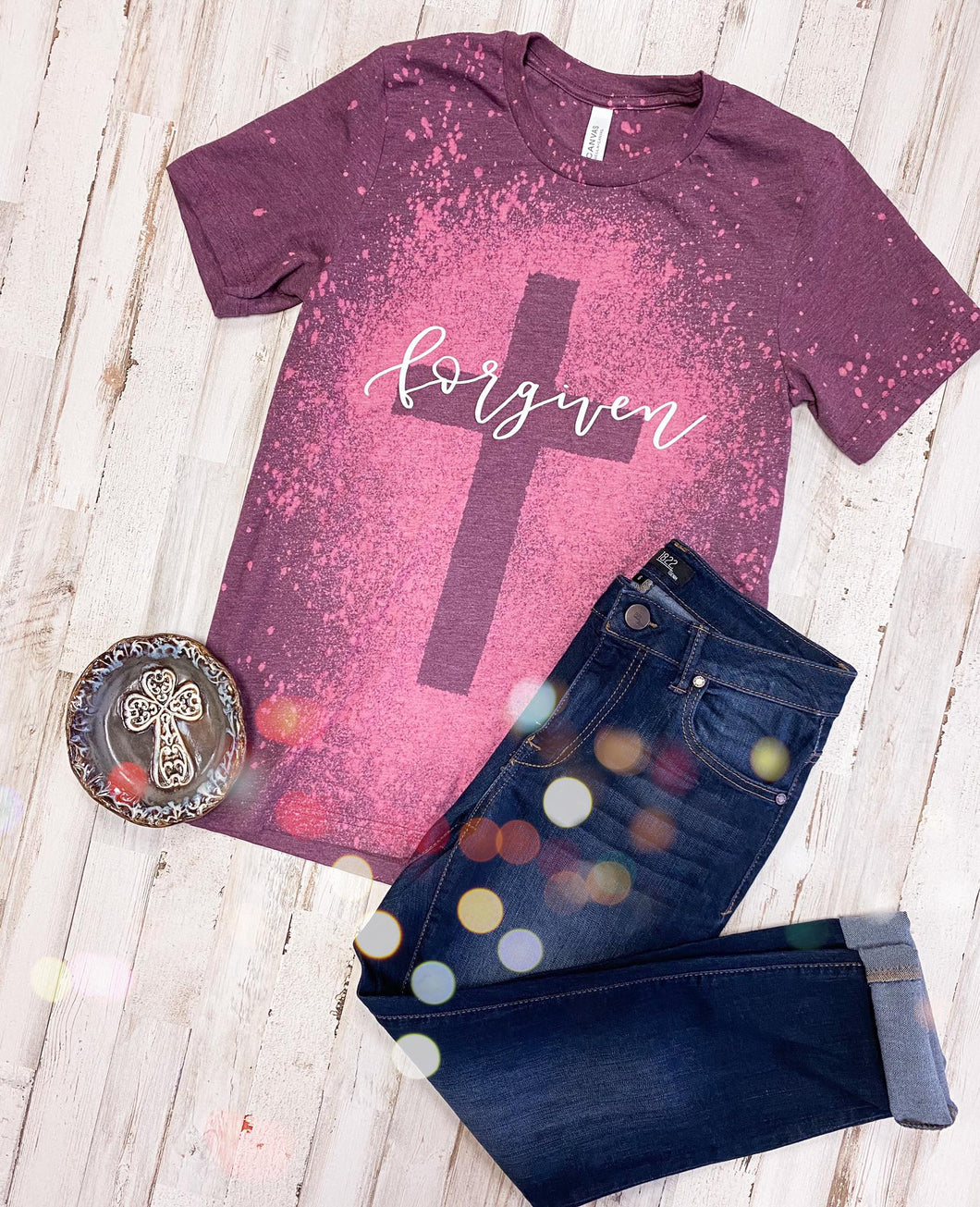 Forgiven Cross Distressed Tee (Heather Maroon) DROPSHIP