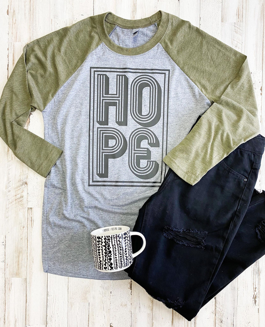 Hope (Military Green Raglan) DROPSHIP