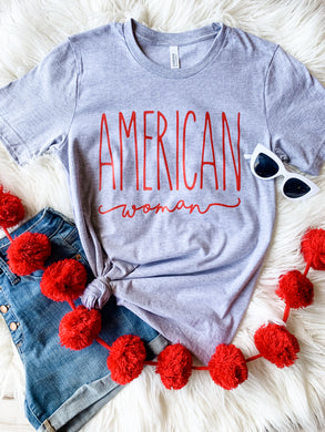 NEW American Woman- Red Ink (Athletic Grey)