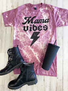 Mama Vibes Tee Distressed (Heather Cassis) DROPSHIP