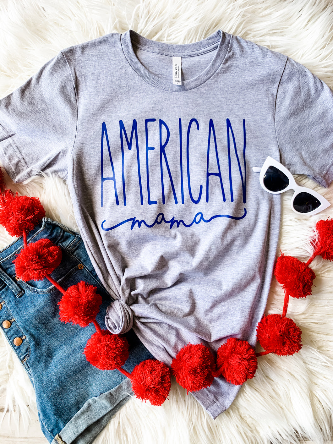 American Mama- Blue Ink (Athletic Grey)