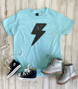Lightning Bolt Kids Tee (Heather Purist Blue)
