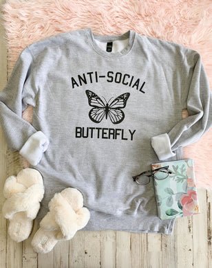 Anti-Social Butterfly Sweatshirt (Athletic Grey)