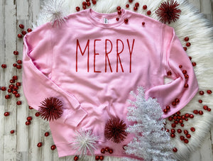 Merry (red ink) Pink Sweatshirt DROPSHIP