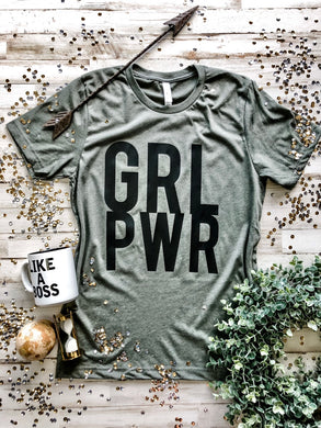 GRL PWR Tee (Heather Military Green)