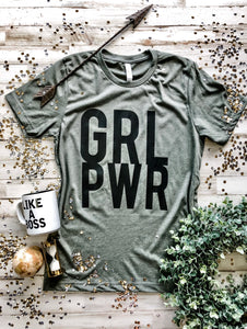 GRL PWR Tee (Heather Military Green) DROPSHIP