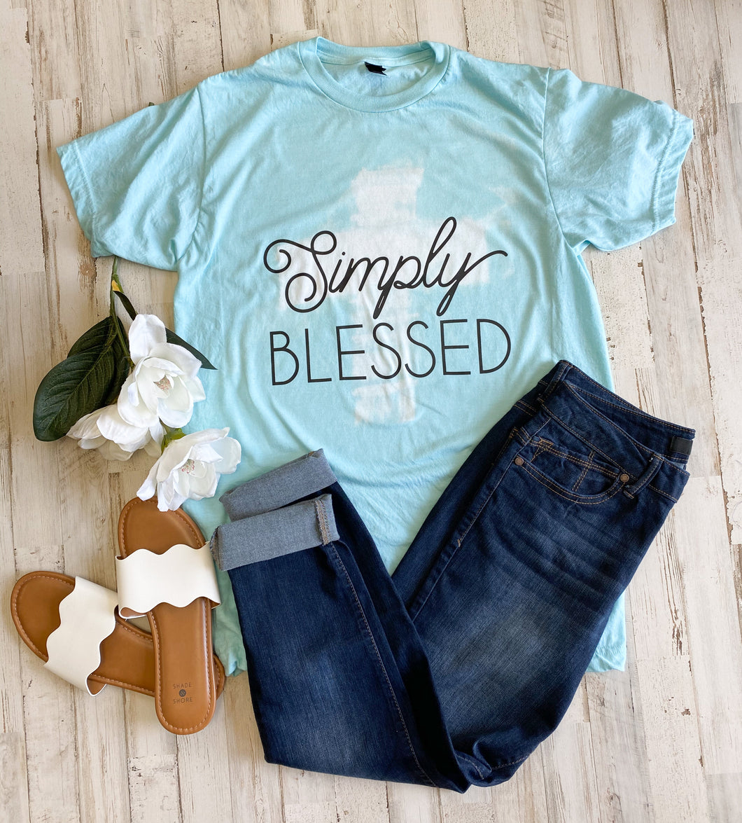 Simply Blessed Distressed Cross Tee (Purist Blue Tultex) DROPSHIP