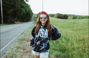 USA (White Ink) Black and White Tie Dye Hoodie