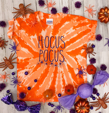 Hocus Pocus (Purple Ink) Orange Tie Dye Kids Tee