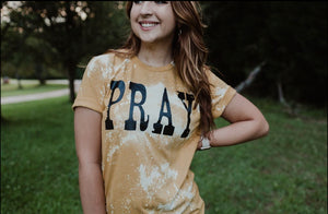PRAY (Heather Mustard Distressed) DROPSHIP