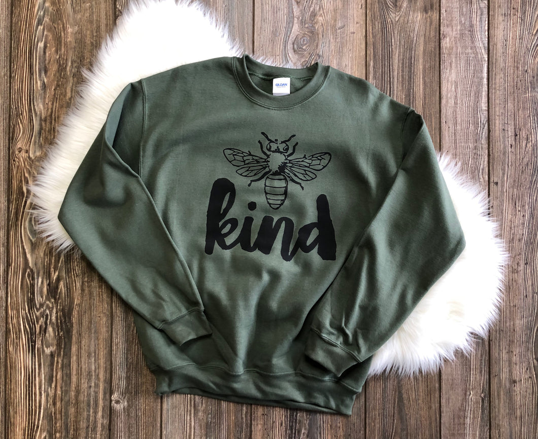 Bee Kind Sweatshirt (Military Green)