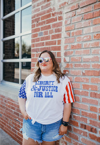 Liberty & Justice For All (Flag Sleeves Tee)