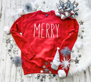 Merry (white ink) Red Sweatshirt DROPSHIP