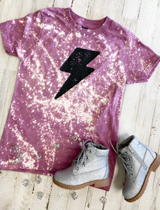 Lightning Bolt Kids Tee (Heather Cassis) DISTRESSED