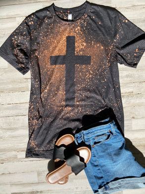 Jesus Has My Back Cross Distressed Tee