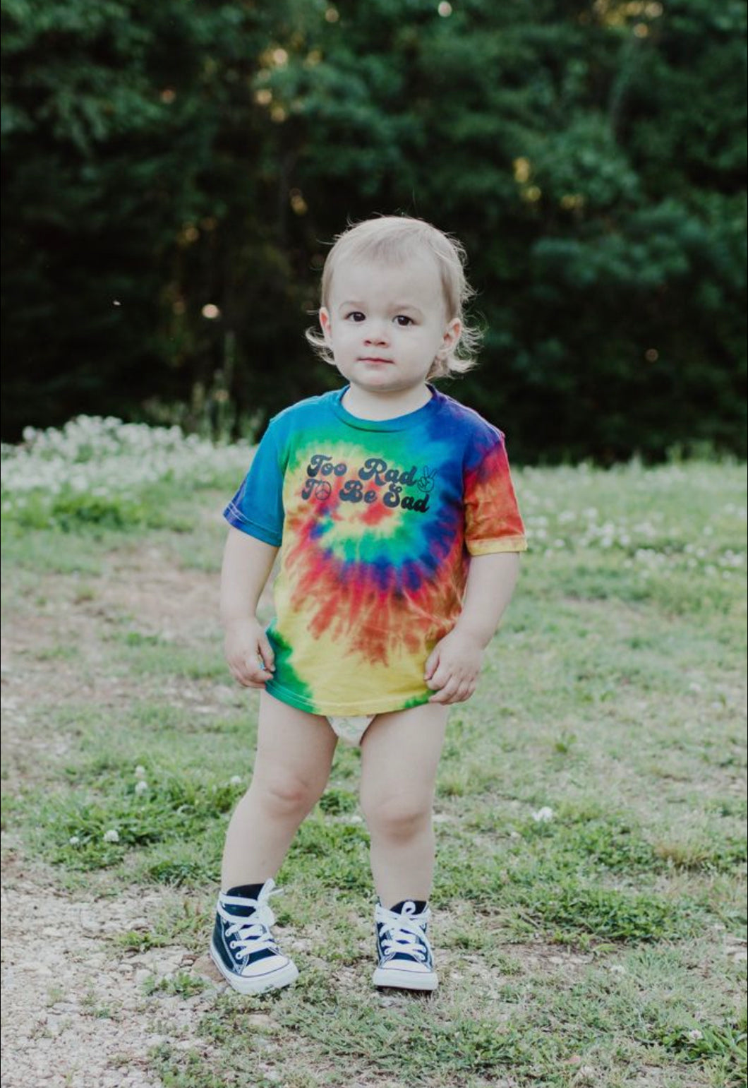 Too Rad To Be Sad Kids Tie Dye Tee