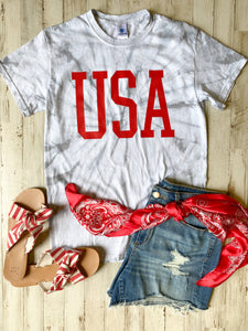 USA (Red Ink) GREY Tie Dye Tee