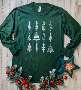 Tree Obsessed (Tultex Hunter Green Long Sleeve)