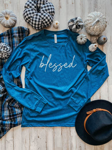 Blessed Long Sleeve (Heather Deep Teal) DROPSHIP