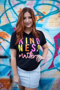 Kindness Matters (Tultex Black V Neck) DROPSHIP