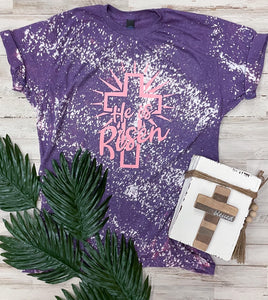 He Is Risen (Pink Ink) Tultex Purple Distressed