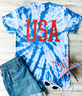 USA (Red Ink) Royal Tie Dye Tee